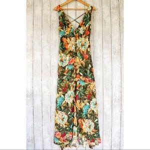Farm Rio Garden Dreams V-Neck Maxi Dress Small NWT